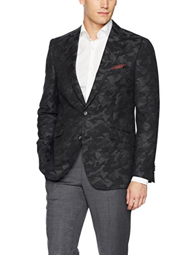 Robert Graham Men's Portgain Tailored Fit Woven Sportcoat, Grey, 44