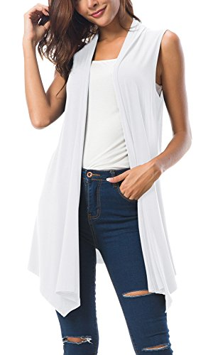 Urban CoCo Women's Sleeveless Draped Open Front Cardigan Vest Asymmetric Hem (L, White)