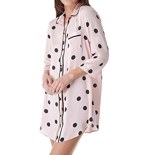 Kate Spade New York Charmeuse Sleep Shirt, XL, Reina Dot