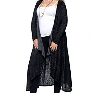 Hot Ginger Plus Size Cardigan (1X, Heather Black)