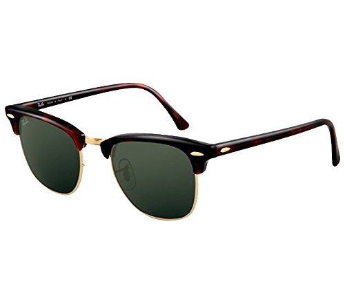 Ray-Ban Clubmaster Sunglasses (51 mm, Tortoise Frame Solid Black G15 Lens) Ê