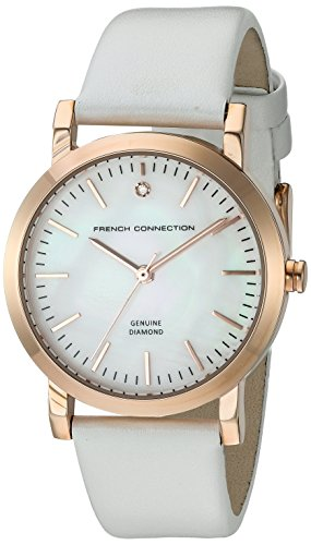 French Connection Women's 'Catherine Diamond' Quartz Metal and Leather Watch, Color:White (Model: FC1250WRG)