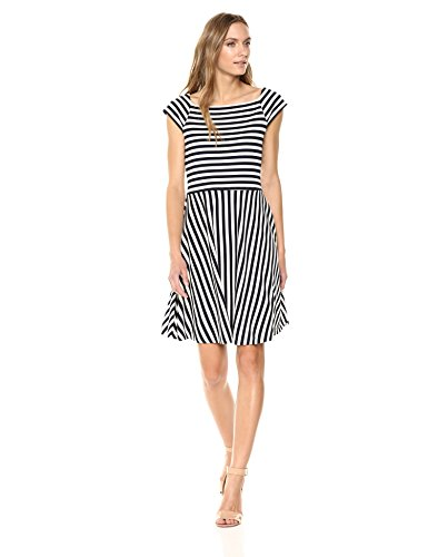 A|X Armani Exchange Women's Stripe Fit and Flare Dress, Stripes Navy/White, S