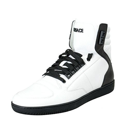 Versace Men's White Leather Hi Top Fashion Sneakers Shoes Sz US 9 IT 42