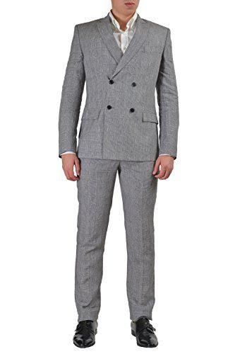Versace Collection Men's Multi-Color Linen Double Breasted Suit US 38 IT 48