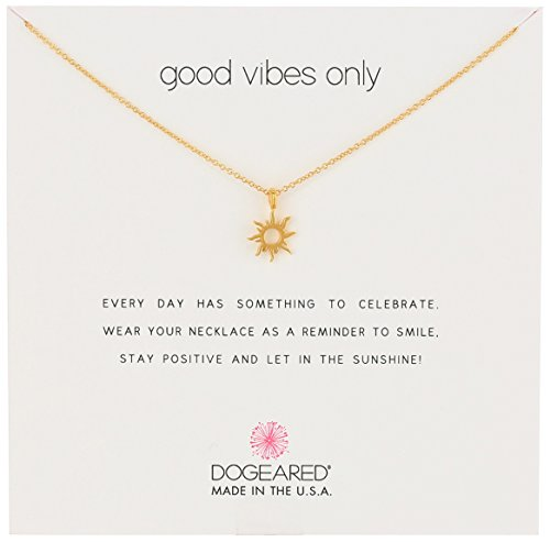 "Dogeared Reminders- Good Vibes Only Gold Dipped Sun Charm Necklace, 16"" w/2"" Extender"