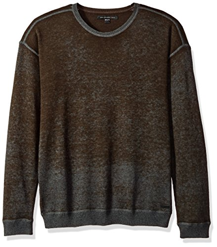 John Varvatos Men's Drop-Shoulder Crewneck 205, Chocolate, Extra Large