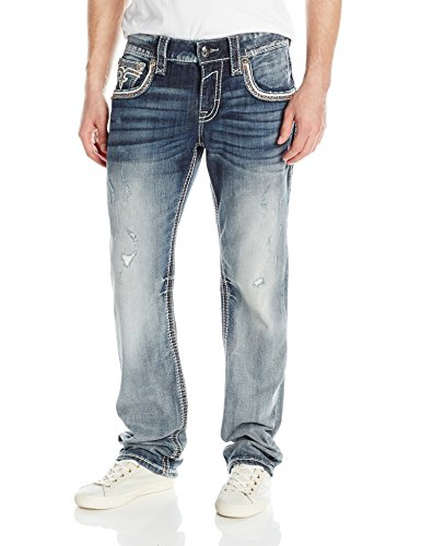 Rock Revival Men's Straight Fit Jean, Blue, 36