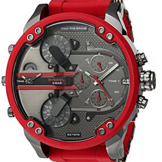 Diesel Men's Mega Chief Quartz Stainless Steel and Silicone Chronograph Watch, Color Red, Brown (Model: DZ4476)