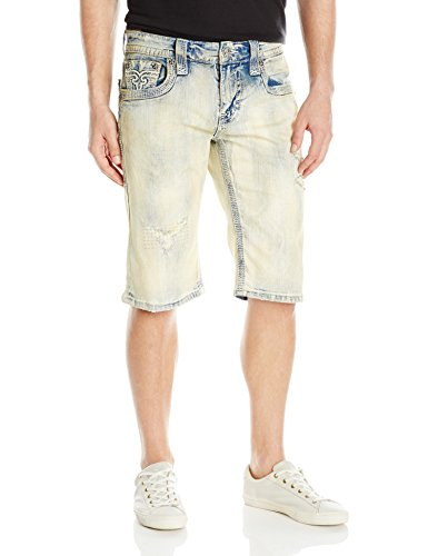 Rock Revival Men's Jean Shorts, Acid Blue, 32