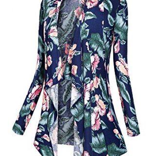 Urban CoCo Women's Drape Front Open Cardigan Long Sleeve Irregular Hem (# 2-1, L)