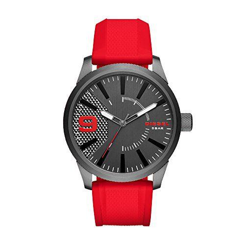 Diesel Men's Gunmetal Ip Red Silicone Watch