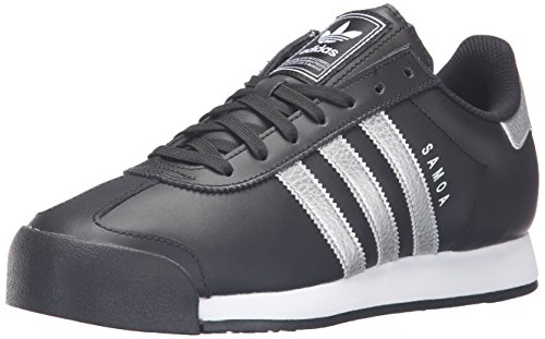 adidas Originals Men's Samoa Retro Fashion Sneaker, Black/Metallic Silver/White, 10 M US