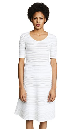 Salvatore Ferragamo Women's V Neck Dress, Bianco/Oro, X-Small