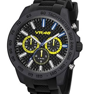 """TW Steel VR46 Yamaha Valentino Rossi """"the Doctor"""" Men's Ultra Light Carbon Motorcycle Racing Chronograph Watch VR114 Black Silicone Strap Analog Sport Wrist Watches"""