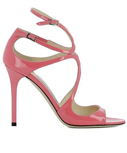 JIMMY CHOO Women's Langpatflamingo Pink Leather Sandals