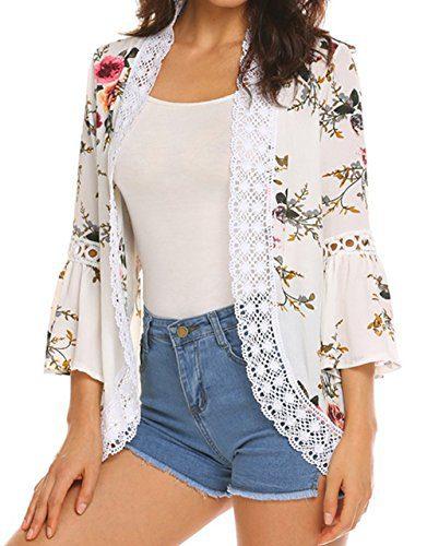 Relipop Women's Sheer Chiffon Blouse Loose Tops Kimono Floral Print Cardigan (X-Large, Type 42)
