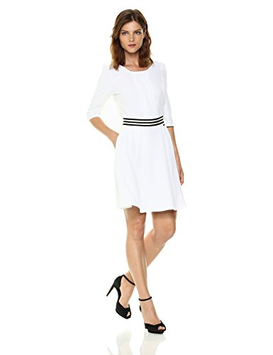 A|X Armani Exchange Women's 3/4 Sleeve Waistband Dress, White, 6