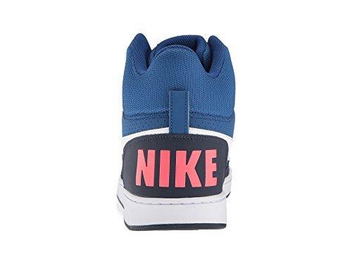 NIKE Men's Court Borough Mid Basketball Shoe, Gym Blue/White/Obsidian/Solar Red, 10.5 D US