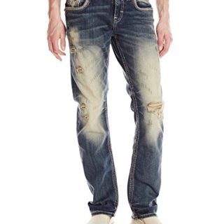 Rock Revival Men's Straight Fit Jean, Vintage Blue, 32