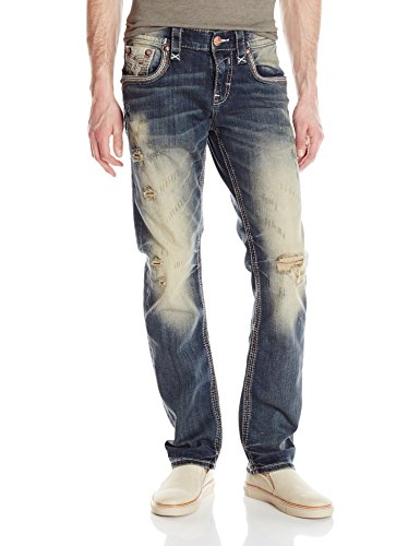 Rock Revival Men's Straight Fit Jean, Vintage Blue, 32
