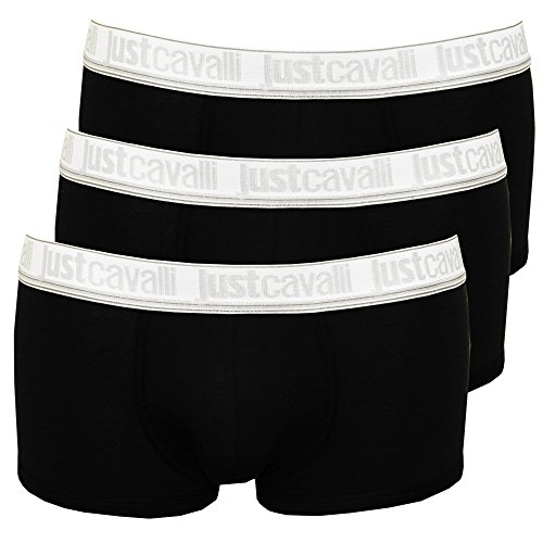 Just Cavalli 3-Pack Low-Rise Men's Boxer Trunks, Black X-Large Black with white