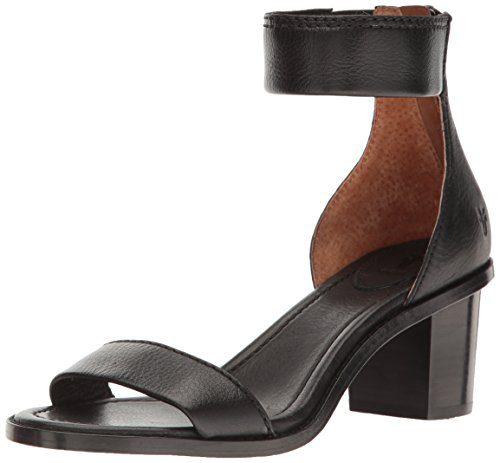 FRYE Women's Brielle Back Zip Dress Sandal, Black, 7.5 M US