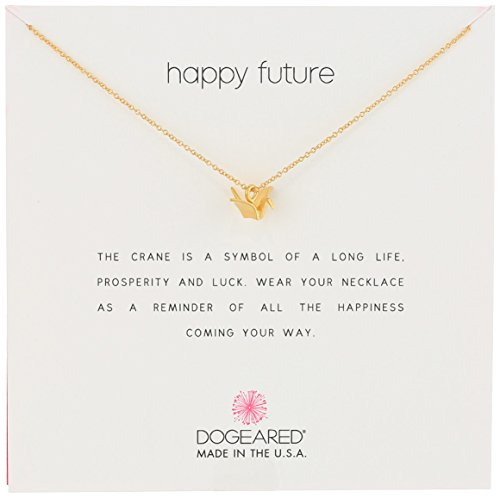 "Dogeared Reminders- Happy Future' Gold Dipped Sterling Silver Oragami Crane Charm Necklace, 16""+2"" Extender"