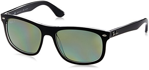Ray-Ban INJECTED MAN SUNGLASS - TOP MATTE BLACK ON TRANS Frame DARK GREEN POLAR Lenses 56mm Polarized