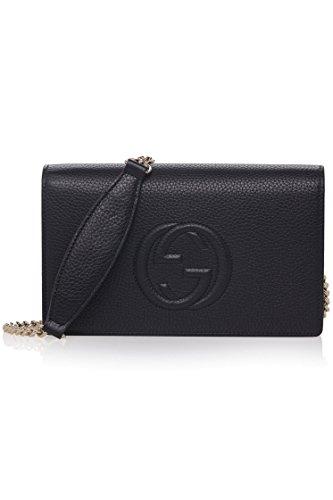 Gucci Soho Mini Black Round Light Gold Disco Zip Italy Leather Handbag Bag New
