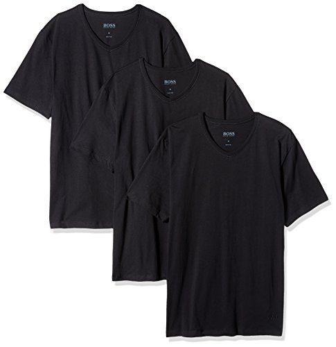 Hugo Boss BOSS Men's Cotton 3 Pack V-Neck T-Shirt, New Black, Medium