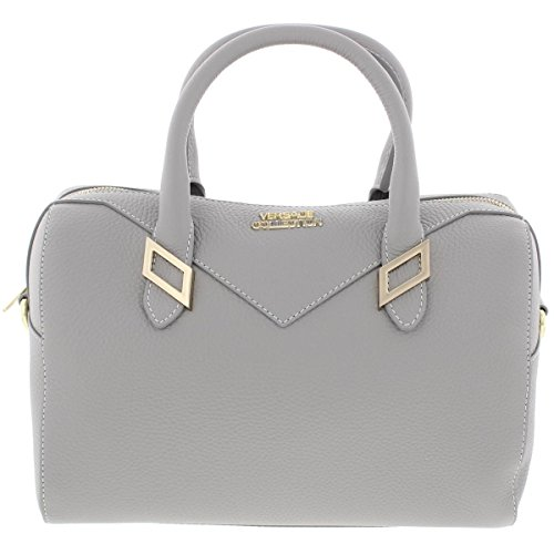 Versace Collection Womens Leather Pebbled Satchel Handbag Gray Medium