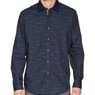 Robert Graham Men's Port Vila Long Sleeve Classic Fit Shirt, Navy, Medium