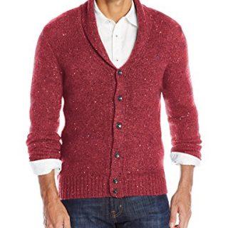 Original Penguin Men's Lambswool Blend Shawl Collar Cardigan Sweater, Pomegranate, Large