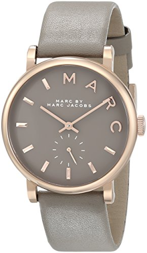 Marc by Marc Jacobs Women's Baker Rose-Tone Stainless Steel Watch with Grey Leather Band