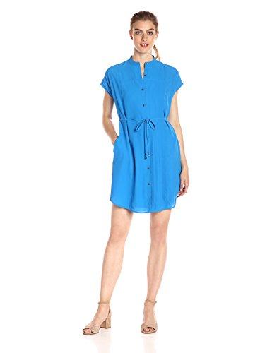 A X Armani Exchange Women's Crew Neck Waist Tie Button up Above The Knee Dress, Cobalt, 10