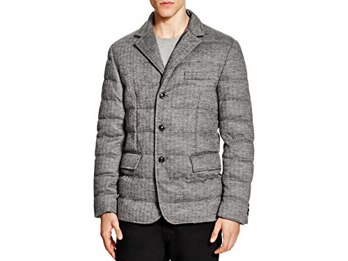 Moncler Mens Grey Harrington Pattern Rodin Quilted Down Sport Coat (4 / XL)