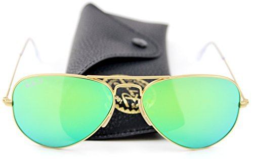 Ray-Ban Unisex Aviator Sunglasses Mirrored Polarized (Matte Gold Frame/Green Mirrored Polarized Lens 112/P9, 58)