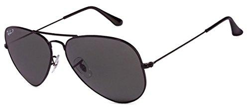 Ray Ban Aviator Sunglasses Unisex (55 mm Frame Black Polarized Solid Lens, 55 mm Frame Black Polarized Solid Lens)