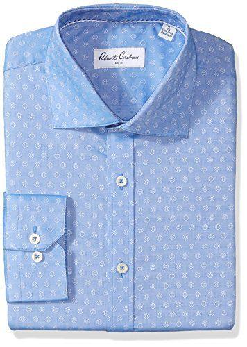 """Robert Graham Men's Gene Regular Fit Solid Dress Shirt, Blue, 15"""" Neck 34.5"""" Sleeve"""