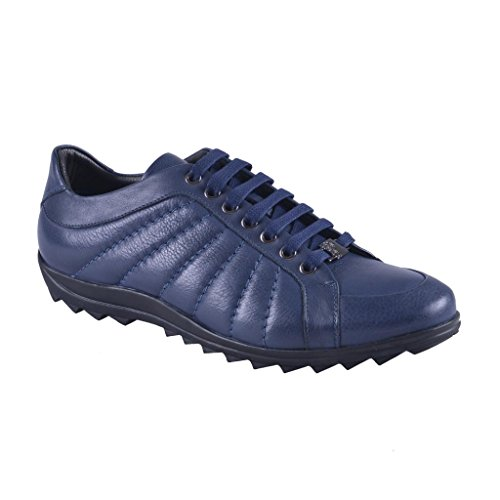 Versace Collection Men's Blue Leather Fashion Sneakers Shoes US 8 IT 41