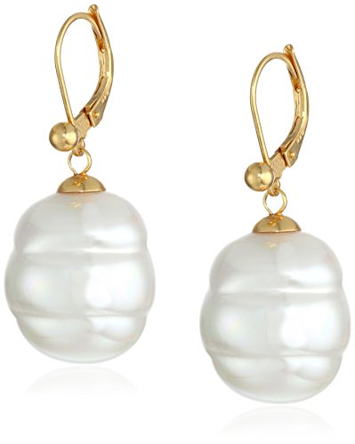 Majorica 18k Gold Vermeil and 16mm White Baroque Simulated-Pearl Earrings