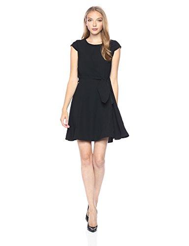 A X Armani Exchange Women's Cap Sleeve Waist Tie Skater Dress, Black, 2