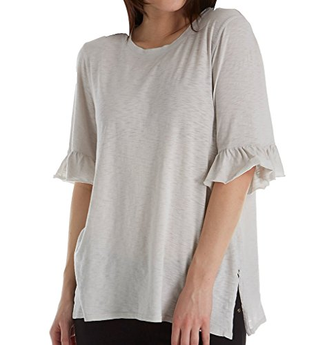 Michael Stars Crew Neck with Ruffle Sleeve Tee O/S/Crescent