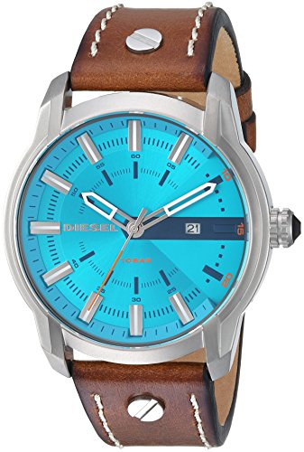 Diesel Men's 'Armbar' Quartz Stainless Steel and Leather Casual Watch, Color Brown (Model: DZ1815)