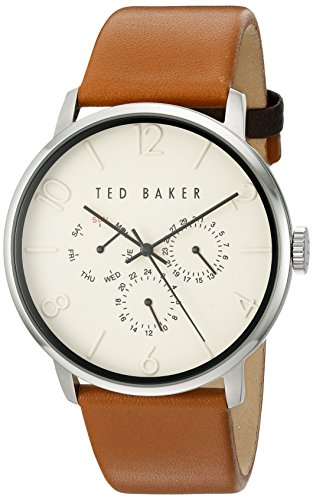 Ted Baker Men's 'Smart Casual' Quartz Stainless Steel and Leather Dress Watch, Color:Brown