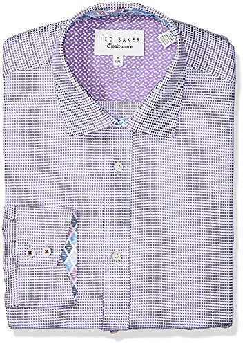 "Ted Baker Men's Giara Slim Fit Dress Shirt, Purple, 16.5"" Neck 34-35"" Sleeve"