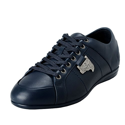 Versace Collection Men's Blue Leather Fashion Sneakers Shoes US 8 IT 41;
