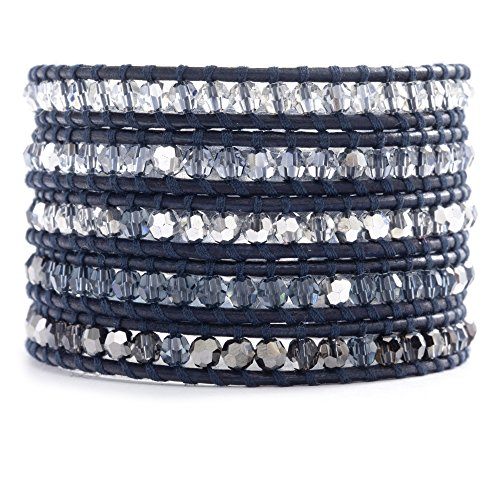 Chan Luu Denim Blue Crystal Mix Wrap Bracelet