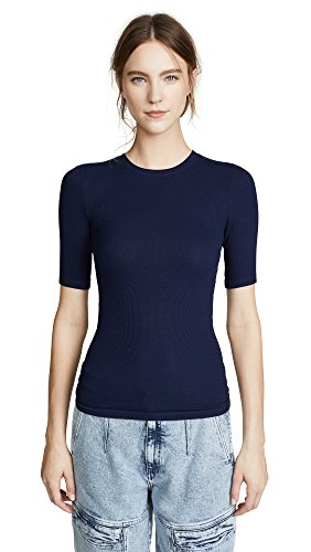 Enza Costa Women's Rib Half Sleeve Crew, Atlantic, Medium